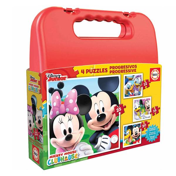 4-Puzzle Set Disney Mickey Mouse Progressive Educa (12-16-20-25 pcs)